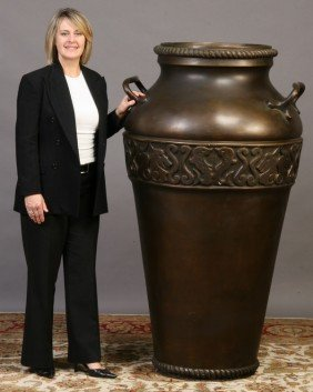 Monumental Double Handled Faux Bronze Urn