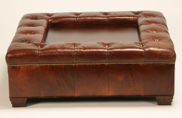 ... Oversized Tufted Ottoman Coffee Table 332 Oversized Tufted Leather Ottoman  Coffee Table Lot 332 ...
