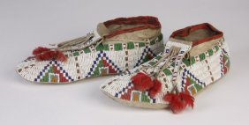 Late 19th C. Fully Beaded Sioux Moccasins