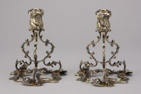 (2) Sterling Silver Candleholders, Marked