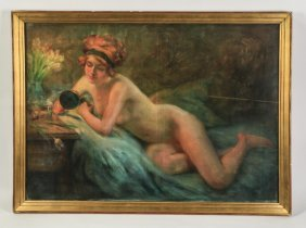 Signed Art Deco Pastel On Canvas Nude, 1916