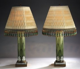 """Pair Of Enameled Opaline Glass Lamps, 32""""h"""