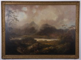 Oversized 19th C. Oil On Canvas Landscape