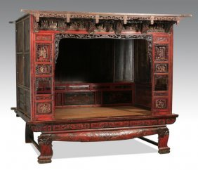 "Carved & Lacquered Chinese Wedding Bed, 77""h"