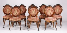 (8) 19th C. German Rococo Style Carved Chairs