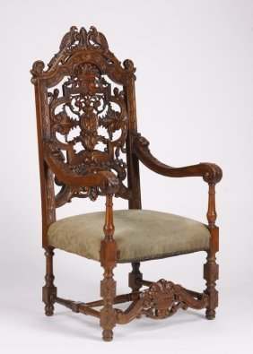 "19th C. French Carved Oak Armchair, 57""h"