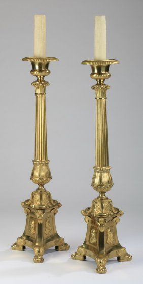 "(2) 65""h French Bronze Prickets"