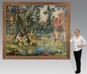 "19th C. Continental O/c Of Garden Scene, 90""h"