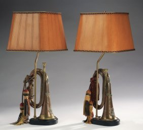 "(2) British Wwi Bugles Mounted As Lamps, 24""h"