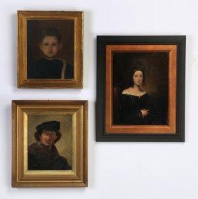 (3) 19th/20th C. Portrait Paintings