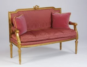 Mid 20th C. Giltwood Canape'