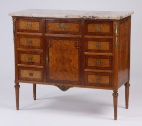 Mid 20th C. Marble Top Inlaid Cabinet