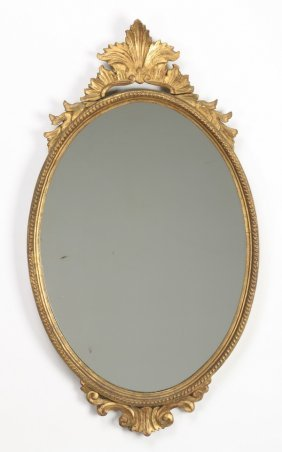 "Continental Gesso And Giltwood Mirror, 32""h"