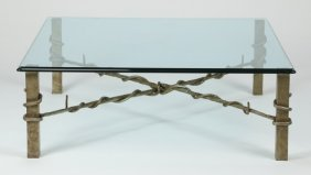 Contemporary Iron And Glass Coffee Table
