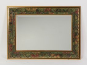Italian Beveled Mirror With Floral Frame