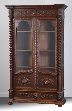 "19th C. French Carved Oak Bookcase, 96""h"