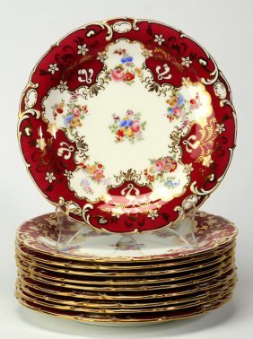 (10) Minton Floral Dessert Plates, Marked