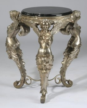 Silvered Bronze Marble Top Side Table