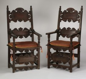 (2) 19th C. Italian Carved Oak Armchairs