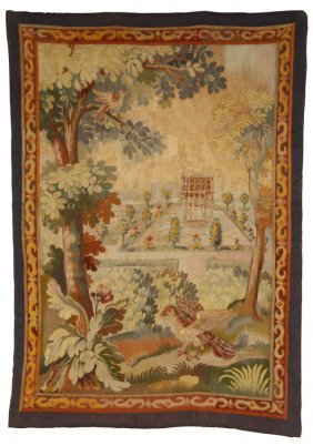 19th C. Continental Hand Knotted Tapestry
