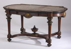 19th C. Marble Top Rosewood Table