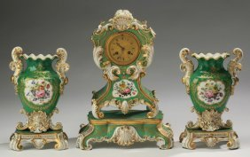 3-piece Porcelain Clock Garniture, 19th C.