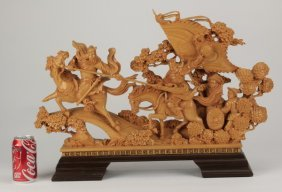 Chinese Carved Sculpture, Kwan Kung In Battle