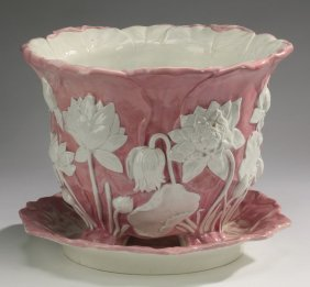 "Majolica Lotus Jardiniere After Minton, 12""h"