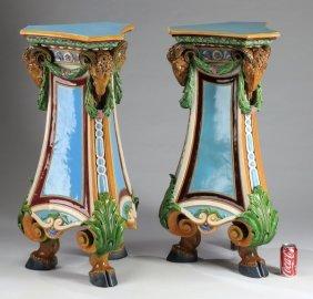 (2) Majolica Ram's Head Pedestals, 19th C.