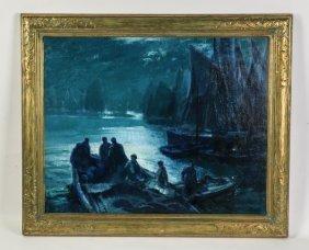Geo.elmer Browne, O/c Evening Boats