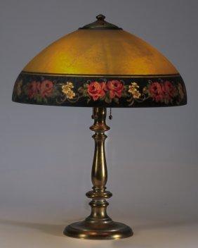 "Handel Reverse Painted Lamp, Marked, 23""h"