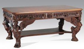 "Horner Bros. Mahogany Desk, 64""l, 19th C."