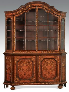"""Dutch Rococo Style Marquetry Cabinet, 63""""h"""