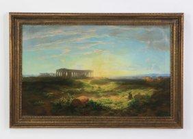 """19th C. O/c Landscape Of Greek Ruins, 55""""w"""