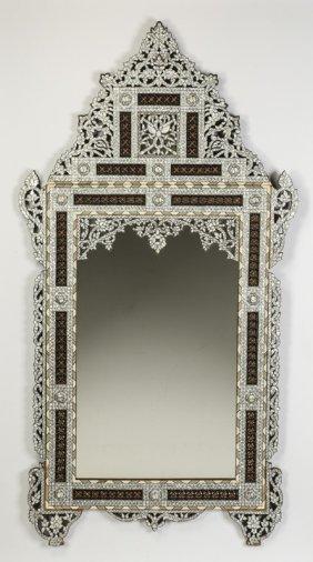 "Moorish Style Carved & Inlaid Mirror, 65""h"