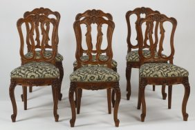 (6) French Carved Oak Side Chairs