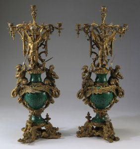 Gilt Bronze And Malachite Candelabra, 42""