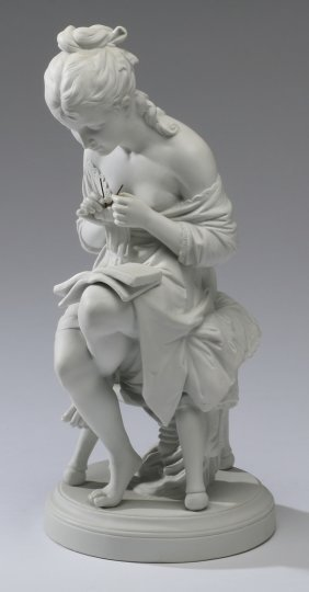 """Early 20th C. Bisque Porcelain Figurine, 15""""h"""