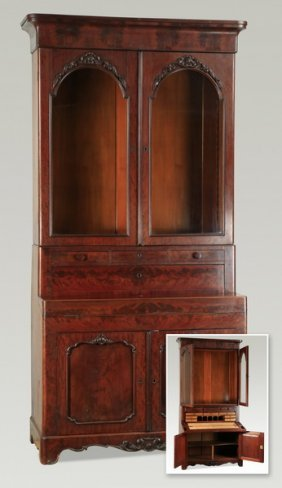 """Mahogany Secretary Bookcase, 96""""h"""