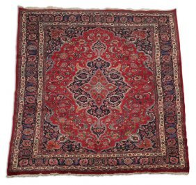 Hand Knotted Persian Mashad Wool Rug, 8 X 12