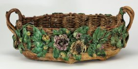 "French Majolica 'basket' Centerpiece, 19""l"