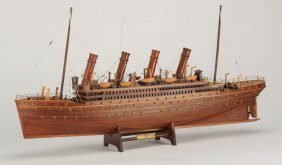 "Carved Mahogany Model Of The Titanic, 33""l"