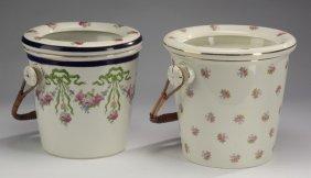 (2) English Porcelain Pails W/wicker Handles