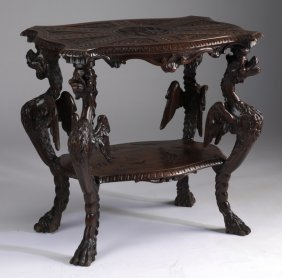 """Rococo Revival Walnut Gryphon Table, 27""""h"""