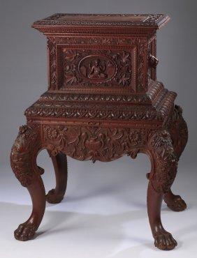 Renaissance Revival Style Casket On Stand
