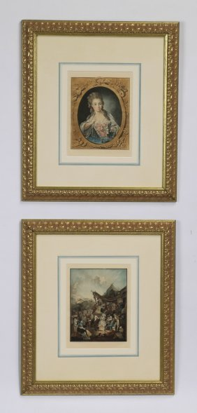 "(2) French Mezzotints After Watteau, 22""h"