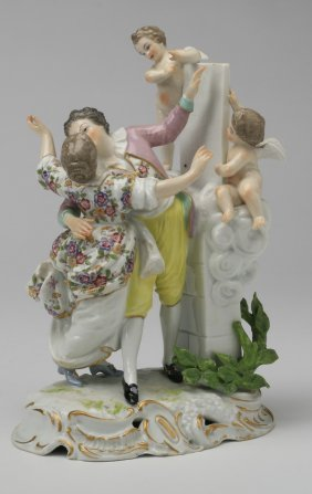"19th C. Continental Porcelain Grouping, 9""h"