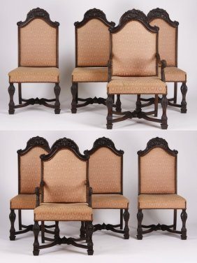 (8) Early 20th C. Carved Black Walnut Chairs