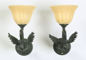 (2) Neoclassical Alabaster And Bronze Sconces