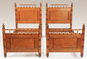 (2) Faux Bamboo Turned Wood Twin Bedsteads